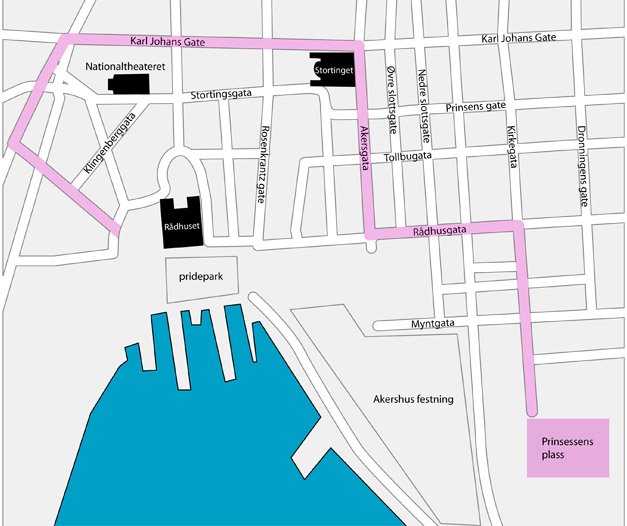 prinsessens plass oslo kart Paraderuten er endret prinsessens plass oslo kart